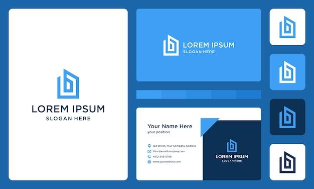 Lettre b et logo du bâtiment. vecteur premium. carte de visite.