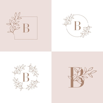 Lettre b logo avec élément feuille d'orchidée