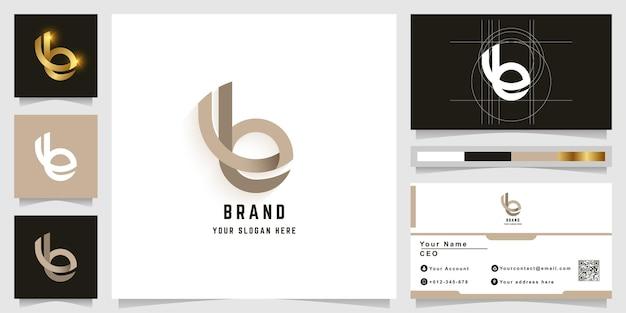 Lettre b ou logo monogramme avec conception de carte de visite