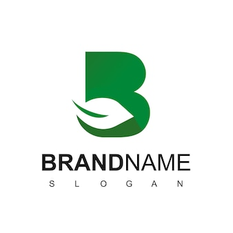 Lettre b, modèle de conception de logo de feuille