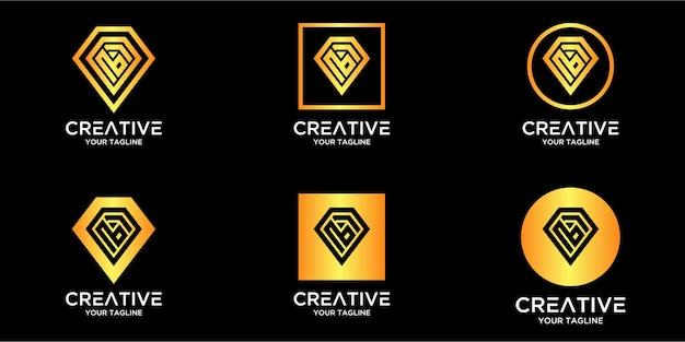 Lettre b avec modèle de logo de diamant abstrait de luxe