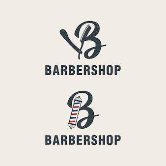 Lettre b avec modèle de logo d'éléments barbershop