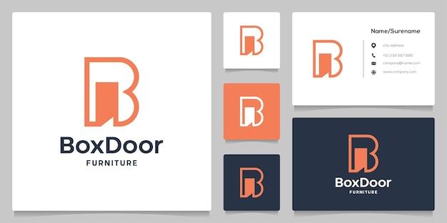 Lettre b porte intérieur abstrait espace négatif simple création de logo moderne