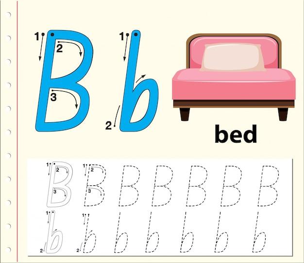 Lettre b traçant des feuilles d'alphabet