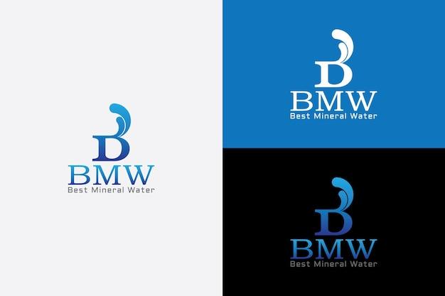 Lettre b avec des vagues de l'océan concept d'eau potable vecteur logo symbolique minimal simple moderne
