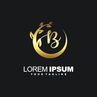 Lettre de beauté b avec logo de luxe de cadre de feuille