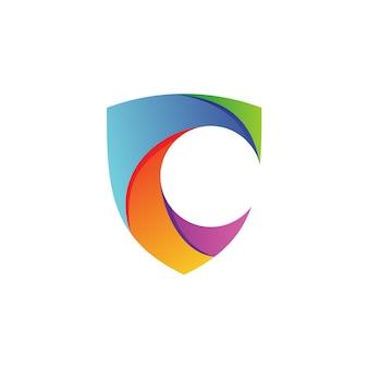 Lettre c, bouclier, vecteur, logo