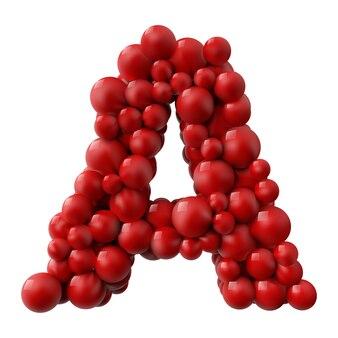 Lettre a avec des boules brillantes de couleur rouge. illustration réaliste.