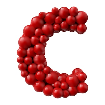 Lettre c avec des boules brillantes de couleur rouge. illustration réaliste.