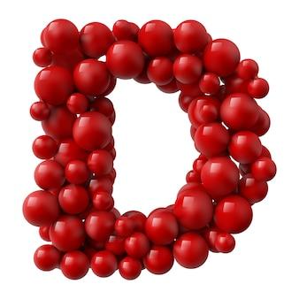 Lettre d avec des boules brillantes de couleur rouge. illustration réaliste.
