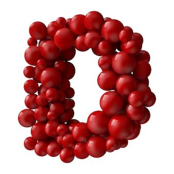 Lettre d avec des boules brillantes de couleur rouge, vue latérale. illustration réaliste.