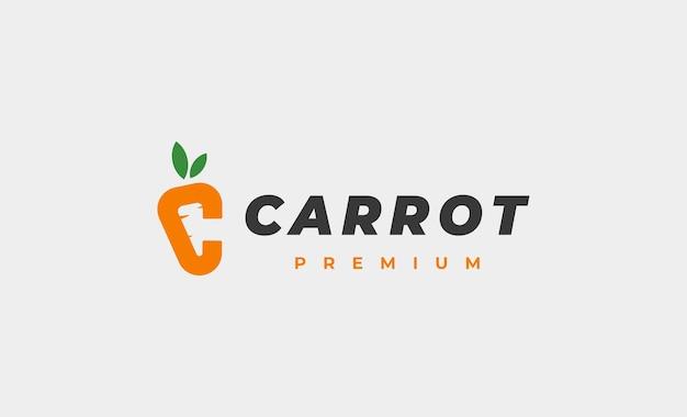 Lettre c carotte logo design vector icon illustration