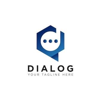 Lettre d chat logo talk dialogue app design