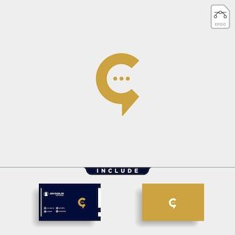 Lettre c chat talk logo template design vectoriel icône message