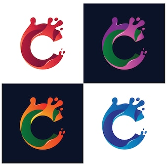 Lettre c collection logo vector liquide coloré