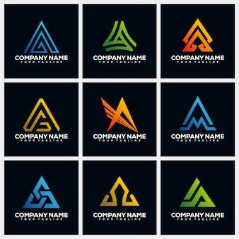 Lettre a collections de modèles de conception de logo créatif