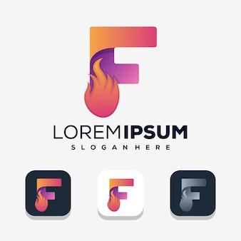 Lettre colorée f avec logo de feu