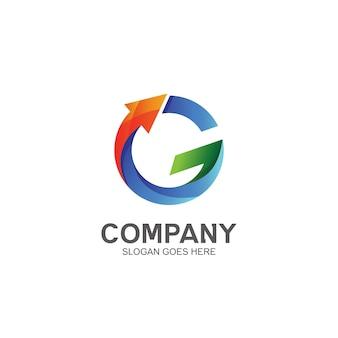 Lettre colorée g avec logo flèche