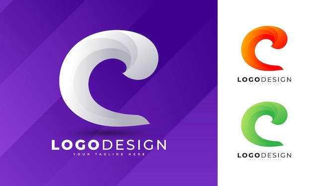 Lettre c colorée logo modèle de vecteur de conception de logo initial minimaliste