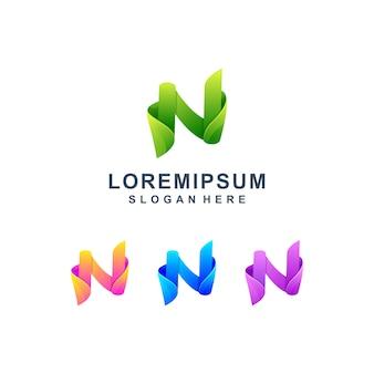 Lettre colorée n logo premium