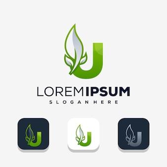Lettre colorée u avec création de logo leafe