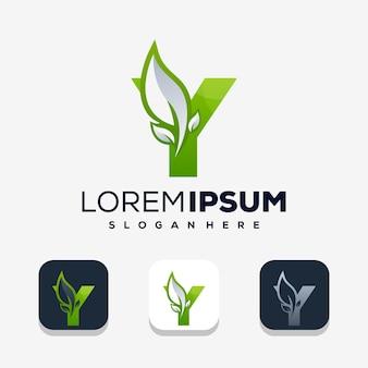 Lettre colorée y avec création de logo leafe