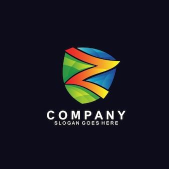 Lettre colorée z avec logo bouclier
