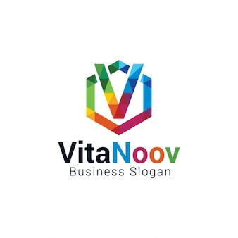 Lettre colorful v logo