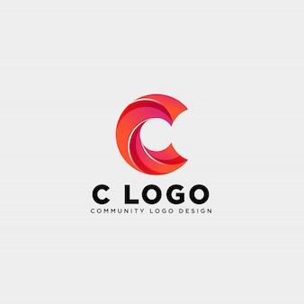 Lettre c communauté logo humain