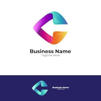 Lettre c avec concept de logo flèche