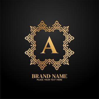 Lettre a concept de logo de marque de luxe