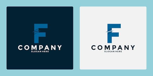 Lettre de conception de logo plat créatif f, initiale f avec ombre pour votre entreprise