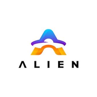 Lettre une conception de modèle de dégradé coloré logo extraterrestre
