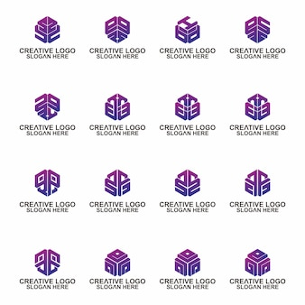 Lettre de conception de signe vecteur élégant universel hexagone prime initiale