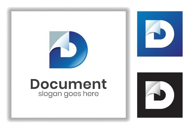 Lettre de couleur dégradée d combinée avec un document papier pour le modèle de logo d'icône d'entreprise