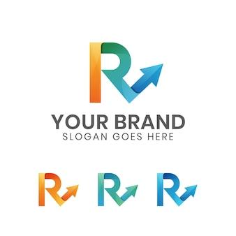 Lettre de couleur moderne r avec logo flèche