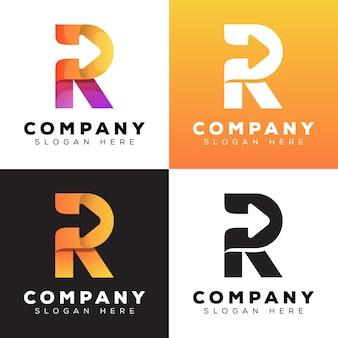 Lettre de couleur moderne r avec style de logo de collection de flèche