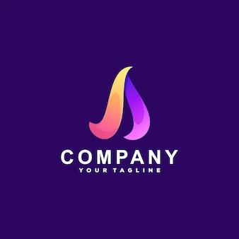 Lettre Une Création De Logo Dégradé Vecteur Premium