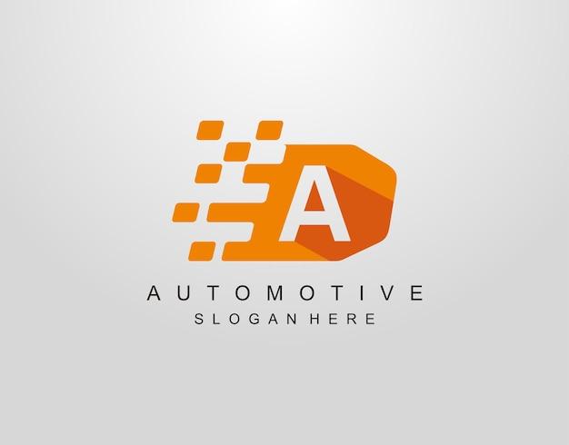 Lettre a avec création de logo de drapeau de course abstraite. modèle d'icône automobile.