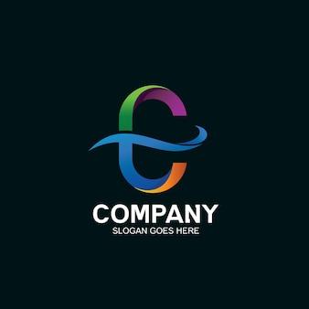 Lettre c avec création de logo vague