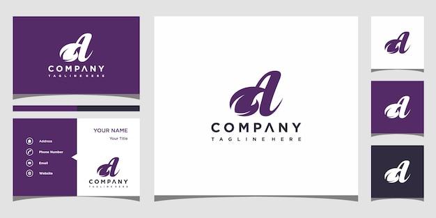 Lettre créative un concept de logo de feuille et carte de visite premium vecteur premium
