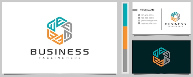 Lettre créative e en inspiration de conception de logo hexagonal avec carte de visite