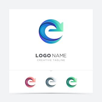 Lettre créative e avec logo flèche