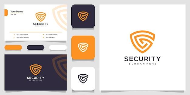 Lettre créative g avec modèles de conception de logo de concept de bouclier et conception de cartes de visite