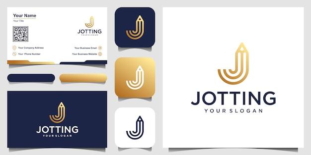 Lettre créative j avec inspiration de conception de crayon concept logo. et conception de cartes de visite