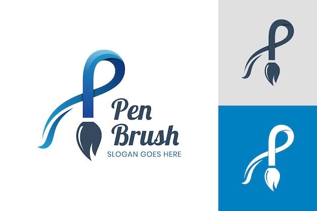 Lettre créative p avec conception d'icône de stylo pinceau pour designer créatif, peintre, modèle de logo de magasin de pinceaux