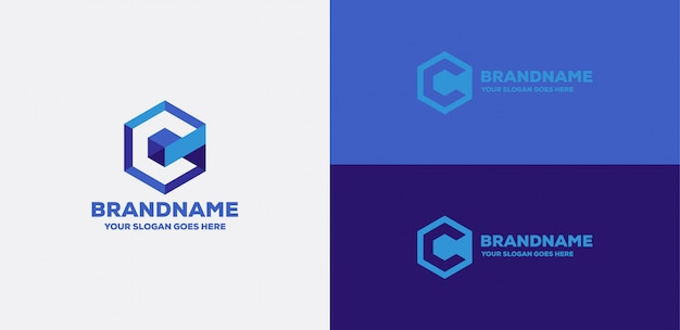 Lettre c cube 3d logo