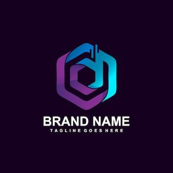 Lettre d dans la conception de logo de technologie hexagonale