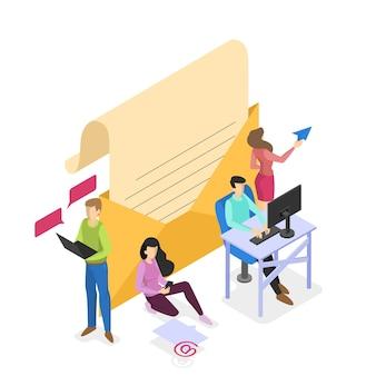 Lettre dans une enveloppe jaune. message postal pour la communication. concept de correspondance par courrier. illustration isométrique