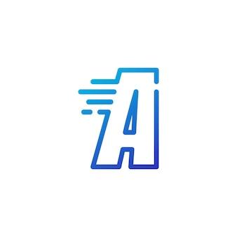 Une lettre dash rapide rapide marque numérique contour logo vector icône illustration